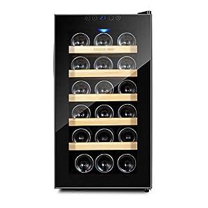 hanzeni Réfrigérateur À Vin, Refroidisseur À Vin 18 Bouteilles, Réfrigérateur À Vin sur Pied avec Rayons Anti-UV/Porte en Verre Trempé Anti-Gel, Compresseur Haute Efficacité, Porte Réversible