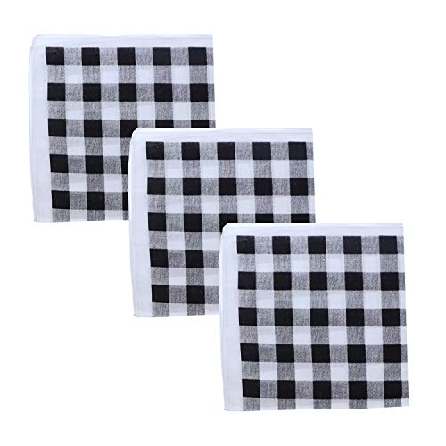 Set Of 3 Large Cotton Bandanas - Black & White Checkered