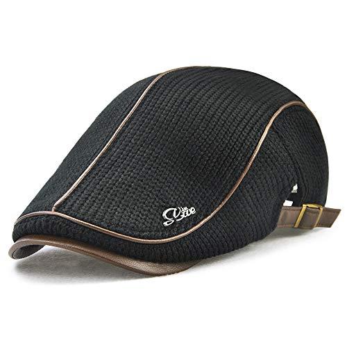 LAOWWO Schiebermütze Herren Flache Kappe Winter Klassischer Knit Flacher Hut Schlägermütze Golfermütze