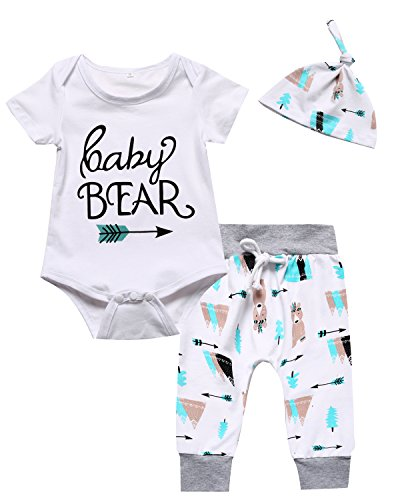 Baby Boys Girls Summer Pants Outfit Set Cute Bear Printing Short Sleeve Romper (3-6 Months) White