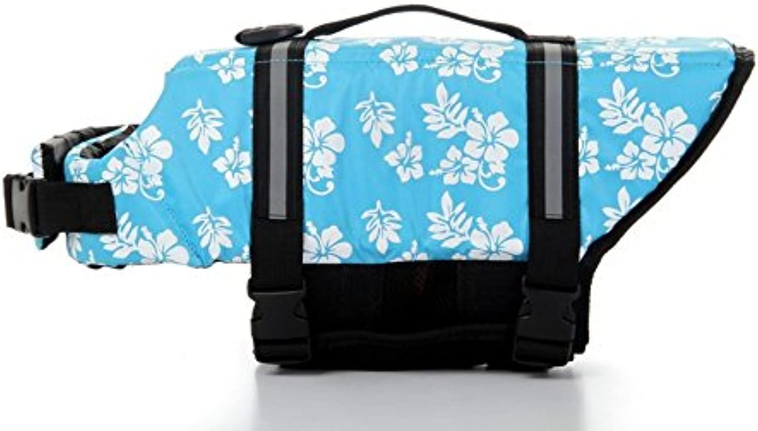 Dog Saver Life Jacket Reflective Pet Preserver MultiSize Aquatic Safety Vest Suitable for Summer Beach(bluee Flower,XSmall)