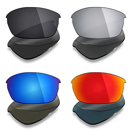 Mryok Lot de 4 paires de verres polarisés de rechange pour lunettes de soleil Oakley Flak Jacket – Noir furtif / Rouge feu/Bleu glacial/Argent titane