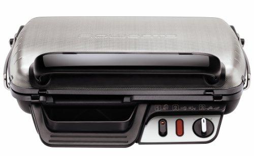 Rowenta GR6010 Parrilla Eléctrica con Termostato, Acero Inoxidable, Plateado/Negro, 1 Unidad