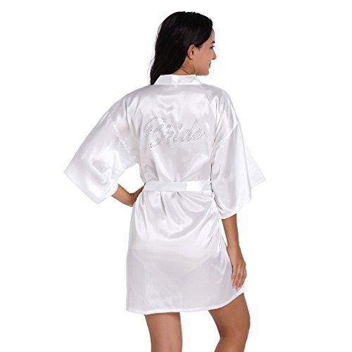 BOYANN Novia Cristal Ropa de Dormir Sexy Batas y Kimonos de Satén