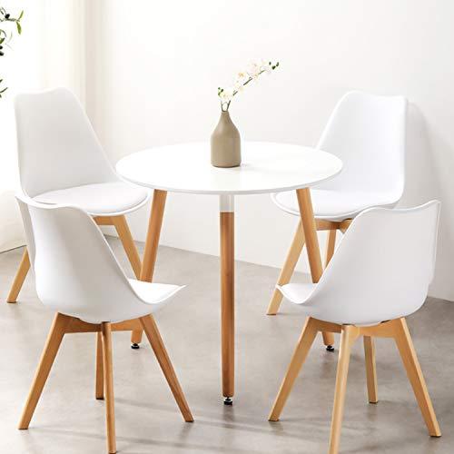 Krok Wood Runder Esstisch Leonard d80 cm Küchentisch Kaffeetisch, Beine aus Massivholz Buche, Weiß