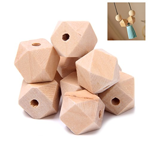 Faguo 10pcs Wooden Geometric Natural Unfinished Beads For Jewelry Necklace Making 16mm