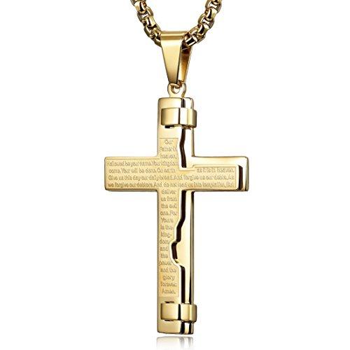 CIUNOFOR Halskette Herren Damen Kreuz Kette Gravur Edelstahl für Freund Jungen Geschenk mit Schmuckbox Gold (24)