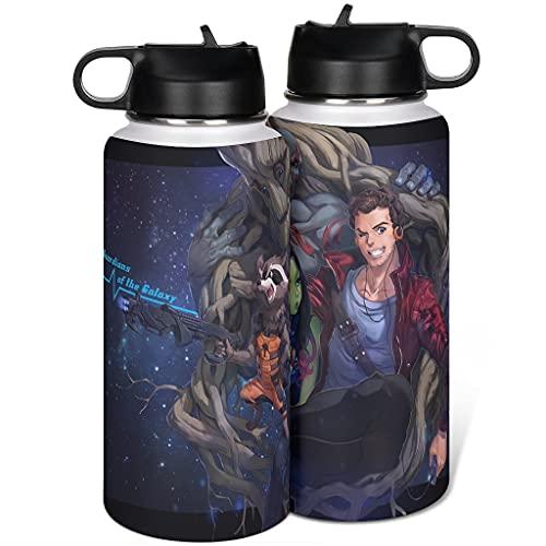 Cyliyuanye Rocket Waschbären&Groot - Botella de agua deportiva con tapa de paja, boca ancha, térmica, color blanco, 1000 ml