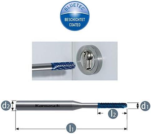 Karnasch l1= 38mm d2= 3 l2= 11 Hartmetall Fr/ässtift f/ür alle Stahlsorten 2,5 x 38 HP3 HM Fr/äser Blue-Tec WRC /Ø= 2,5