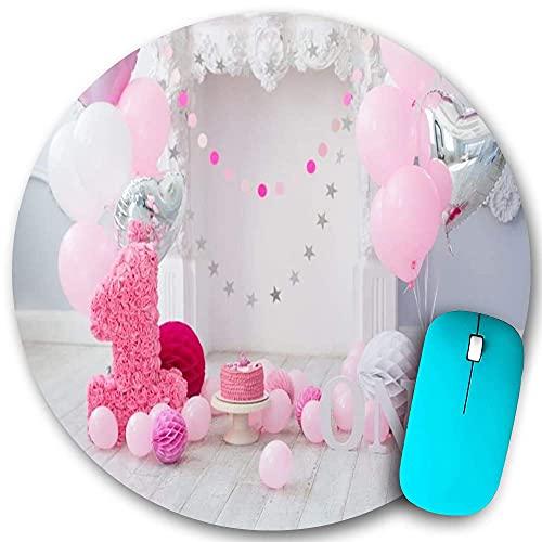 Alfombrilla redonda para ratón, feliz primer cumpleaños, dulce pastel de bebé, globos rotos, flores de papel, cinta, estrellas, suelo de madera, base de goma antideslizante, alfombrillas para ratón de