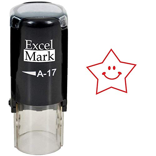 Round Teacher Stamp - Happy Star - RED Ink (Stamp Only)