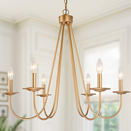 Chandeliers for Dining Rooms, Farmhouse Gold Chandelier, 6-Light Dining Room Lighting Fixtures Hanging with Dark Golden Finish, 28'' W x 24.5'' H