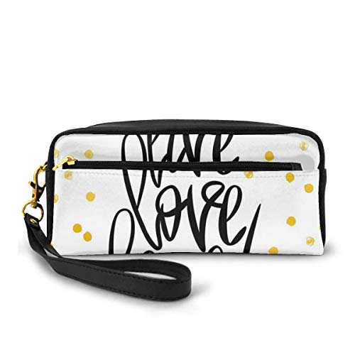 Pencil Case Pen Bag Pouch Stationary,Stylized Hand Lettering on Dotted Backdrop Inspirational Phrase,Small Makeup Bag Coin Purse