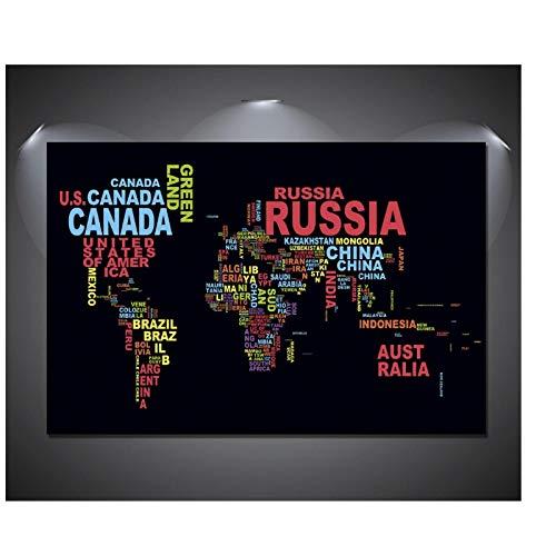 YXFAN Mapa del mundo nombres carteles e impresiones en color hogar sala de estar lienzo pintura pared imagen obra de arte decoración -20x30 en sin marco