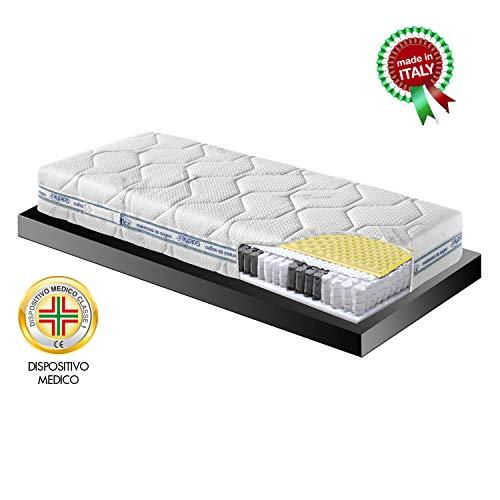 Goldflex Materasso Adattabile Memory 3000 Singolo 80x190 + Molle Insacchettate + Micromolle Zone + Fascia 3D Ioni Argento Garanzia 10 Anni Certificato Dispositivo Medico Made in Italy
