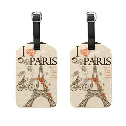 TIKISMILE Vintage Paris Poster Leather Luggage Tag Suitcase Labels Travel Tags set of 2