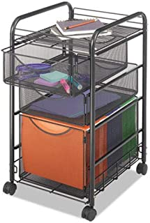 Safco 5213BL Onyx Mesh Mobile File with Two Supply Drawers 15-1/4w x 17d x 27h Black