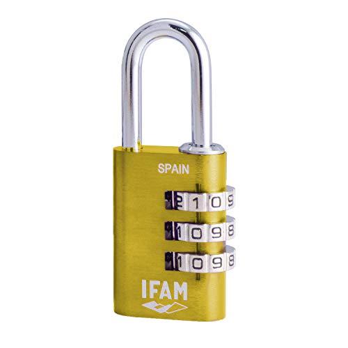 Ifam Col Combi20 (000612A) – Candado de combinación, 20mm, color amarillo, 3 rodillos (1.000 combinaciones) cuerpo aluminio, arco diámetro 3mm, candado para maleta, viaje, gimnasio, taquilla, colegio