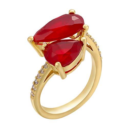 QWKLNRA Anillos Mujer Vintage Color Oro Casual Único Personalizado Rojo Rhinestone Mujeres Exquisitos Anillos De Hombre Anillos De Piedras Preciosas para Navidad Regalo De San Valentín