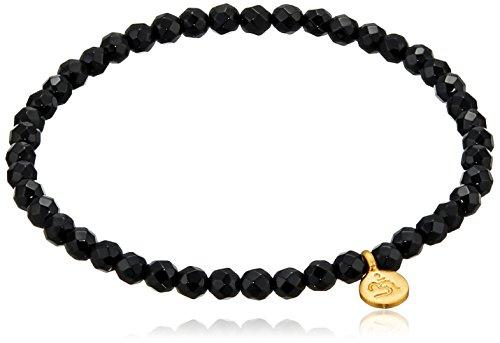 Satya Jewelry Black Onyx Mini Om Stretch Bracelet (4-Millimeter)