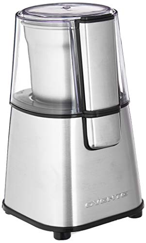 Ovente Electric Coffee & Tea Grinder Mill 2.1 Ounce Fresh Grind with 2 Blade Stainless Steel Grinding Bowl, Fast Grinding with 200 Watt Powered Motor Perfect for Beans, Spices, Nuts, Silver CG620S