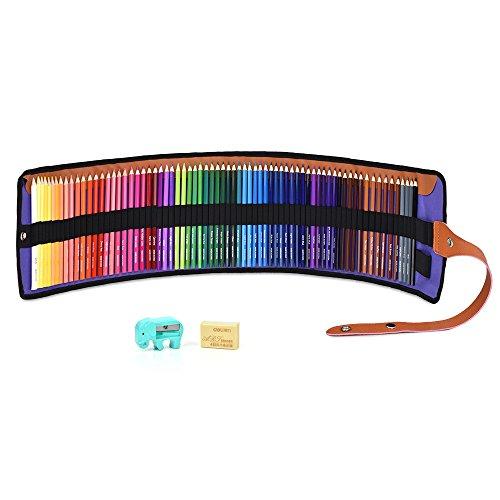 色鉛筆 72色 油性色鉛筆 塗り絵 描き用 収納ケース付き 画材セット 鉛筆削り・消しゴム付き
