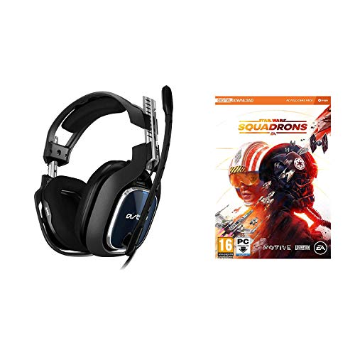 ASTRO Gaming A40 TR Auriculares alámbricos, 4ta Gen, Audio V2, Dolby Atmos para PC, Clavija 3.5mm, micrófono Intercambiable, Star Wars: Squadrons, PC, Negro/Azul