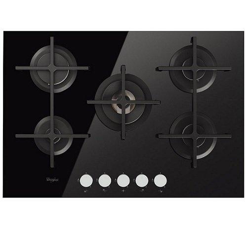 Whirlpool GOA 7523 NB kookplaat (gasfornuis, glas, knoppen, bovenste voorzijde, 73 cm, zwart