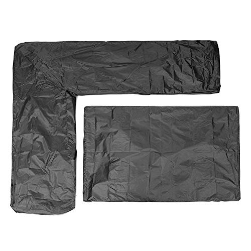 General Purpose 2Pcs/set L Shape Corner Sofa Waterproof Cover Garden Patio Outdoor Furniture Table Chair Dust Protector Furniture Protective Cover Waterproof Outdoor ( Color : Black , Size : 200cm )
