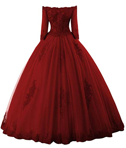 Prom Dress Long Sleeves Quinceanera Dress Off Shoulder Lace Evening Gowns Tulle Prom Dresses Burgundy