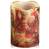 Flameless Candle Real Wax Christmas Color 4inch Diameter 6inch Tall Battery Operated LED Flame with 4/8 Hours Timer, Home Gift