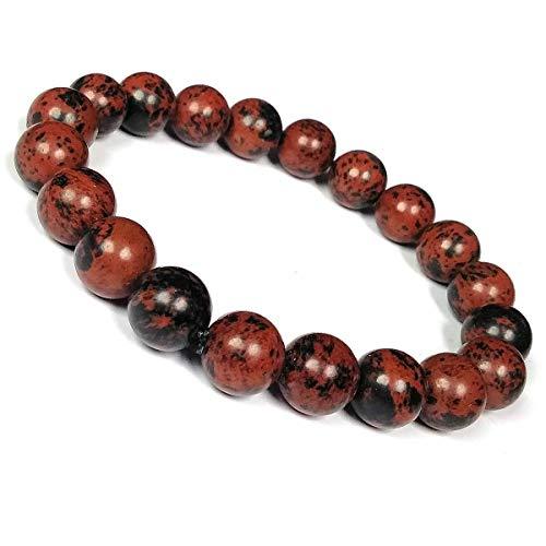 Jaipur Gems Mart Natürliche AAA Mahagoni Obsidian Armband Stretch-Armband | 7-7,5? Obsidian-Armband Edelstein-Armband Länge | Unisex-Armband | 6mm runde Form Perlen | Männer Perlen Armband