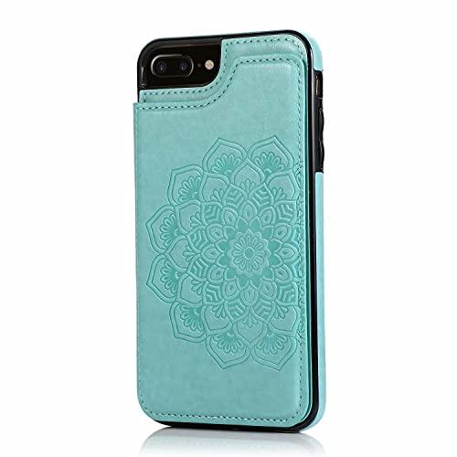 Lijc Compatible con Funda iPhone 6 Plus/6S Plus Botón Doble Mandala En Relieve PU Cuero Tarjeta Bolsillos [Ranura para Tarjetas] [Soporte Plegable] Antigolpes Flip Caso-Verde