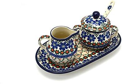 Polish Pottery Cream  Sugar Set with Sugar Spoon - Primrose