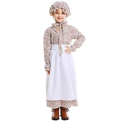 ZQ Mädchen Halloween Vintage Wolf Oma Kostüm Kleid Idyllische Bauernhof Schürze Mädchen Cosplay Baumwolle Kostüm Großmutter Cosplay Kostüm,XL