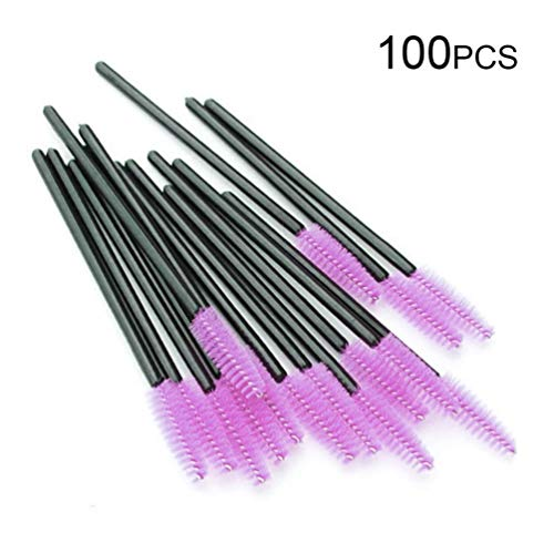 VCB 100pcs / Lot Desechables pestañas extensión rimel cepillos aplicador Individual - Negro y Rojo púrpura