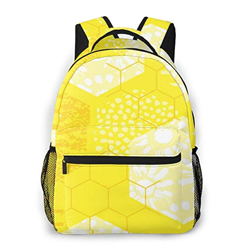 Rucksack Freizeit und Ausflüge Damen Herren Mädchen, Campus Kinderrucksack, Daypack Tagesrucksack für Schule, Sportrucksack, Tablet Tasche Modischer Honig der Bienenwabe