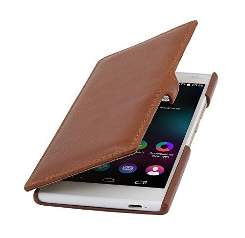 StilGut Book Type Hülle mit Clip, Hülle aus Leder für Wiko Ridge 4G, Cognac