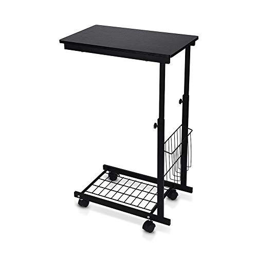Greensen Side End Table Sofa Table Coffee Table, Height Adjustable Bed Sofa Side Table with Metal Frame Rolling Casters, Slides Up to Sofa Chair Recliner- Keep Snacks, Drinks Books & Phone (Black)