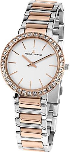 Jacques Lemans Reloj Analógico para Mujer de Cuarzo con Correa en Acero Inoxidable 1-1843.1B