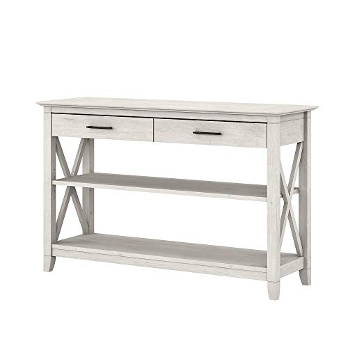 Bush Furniture Key West Console Table with Drawers and Shelves, Linen White Oak