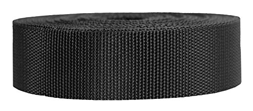 Strapworks Heavyweight Polypropylene Webbing - Heavy Duty Poly Strapping for Outdoor DIY Gear Repair, 1.5 Inch x 50 Yards, Black