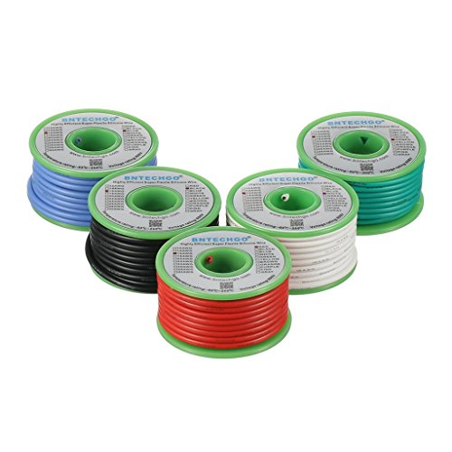 BNTECHGO 16 Gauge Silicone Wire Kit Red Black White Blue and Green Each 25ft 16 AWG Stranded Wire
