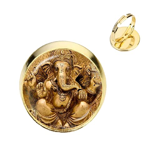 2018 nuevo 16mm redondo de cristal Cabujón India elefante Dios anillos ajustables para amigos chapado en oro joyería de moda regalo