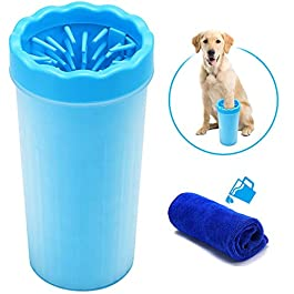 Focuspet Dog Paw Cleaner, Portable Pet Cleaning Brush Cup Dog Foot Cleaner Dog Feet Washer Soft Silicone Brushes for Cleaning Pet Feet for Large/Extra-Large Dogs Muddy Paws Large Size 11 * 9 * 22CM