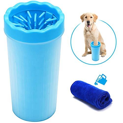 Focuspet Limpiador de Pata de Perro, Limpiador de Pata 9x11x23cm con una Toalla de 30x30 cm Mascota portátil Limpiador de Pata de Perro Limpiador de pies Lavado de pies Copa para Mascotas