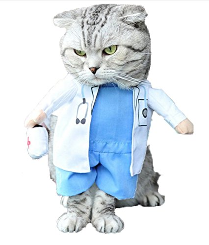 Mikayoo Pet Dog Cat Halloween Costume Doctor Nurse Costume Dog Jeans Clothes Cat Funny Apperal...