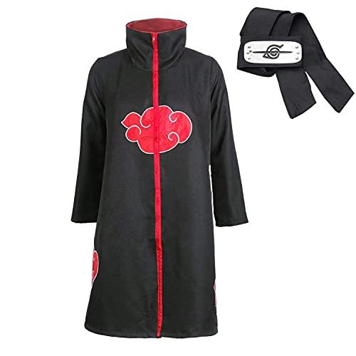 Akatsuki Kostüm Akatsuki Cape Jacke Cosplay Kostüm Mantel Itachi Uchiha Kleid Akatsuki – Konoha Stirnband Anime Cosplay Kopfband Gr. L, Schwarz
