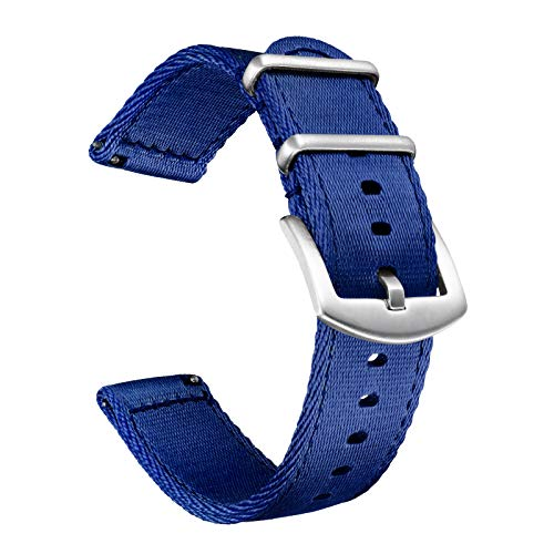 Bolyte Conexión Rápida Correa de Reloj de Nailon Premium para Relojes y Smartwatch, para Hombre y Mujer (Azul Marino, 20 mm)