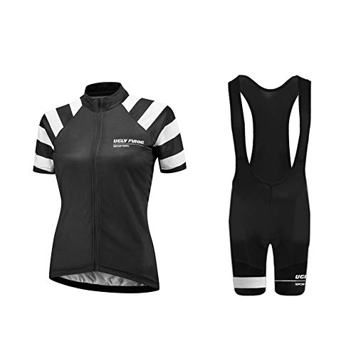 Uglyfrog Damen Team Radtrikot Anzug Breathable Kurzarm Shirt + Enge Shorts Set für Rennrad Racing Outdoor Sports